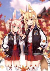 Rating: Safe Score: 67 Tags: animal_ears duji_amo kitsune miko tail thighhighs User: Mr_GT