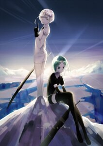 Rating: Safe Score: 20 Tags: antarcticite houseki_no_kuni phosphophyllite sword thighhighs weitu User: charunetra