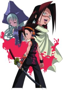 Rating: Safe Score: 5 Tags: asakura_hao asakura_yoh iron_maiden_jeanne shaman_king sword takami_akio User: Radioactive