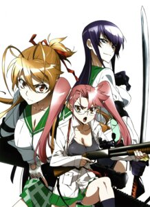 Rating: Questionable Score: 34 Tags: busujima_saeko gun highschool_of_the_dead inazuma megane miyamoto_rei pantsu screening seifuku takagi_saya User: Onpu