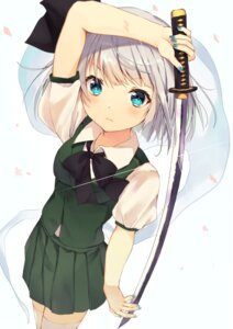 Rating: Safe Score: 43 Tags: konpaku_youmu neno_(nenorium) sword thighhighs touhou User: Mr_GT
