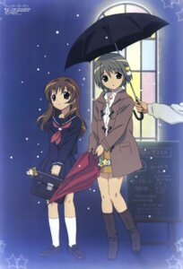 Rating: Safe Score: 16 Tags: dejiko di_gi_charat hasegawa_shinya puchiko seifuku umbrella winter_garden User: vita