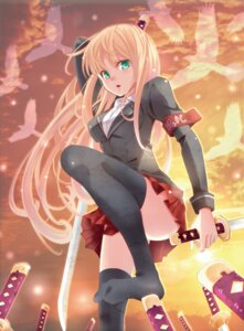 Rating: Safe Score: 36 Tags: kujou_ichiso pixiv_fantasia sword thighhighs User: Radioactive