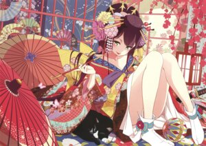 Rating: Questionable Score: 60 Tags: kimono neko smoking ueda_kazuyuki umbrella User: Twinsenzw