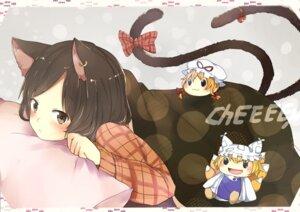 Rating: Safe Score: 17 Tags: animal_ears chen nekomimi pun2 tail touhou yakumo_ran yakumo_yukari User: Nekotsúh