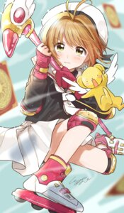 Rating: Safe Score: 20 Tags: card_captor_sakura kero kinomoto_sakura pomu seifuku skirt_lift weapon User: Dreista