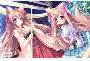Rating: Questionable Score: 18 Tags: animal_ears kimono mito_kohaku mito_mashiro moekibara_fumitake seifuku tail tayutama tayutama_2 User: kiyoe