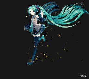 Rating: Safe Score: 47 Tags: hatsune_miku headphones ixima tattoo thighhighs vocaloid User: Sunimo