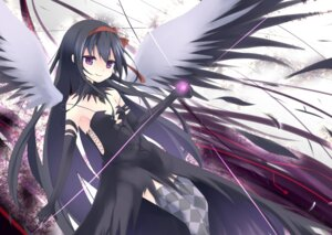 Rating: Safe Score: 27 Tags: akemi_homura dress makadamixa puella_magi_madoka_magica thighhighs wings User: charunetra