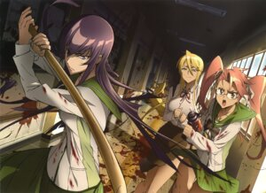 Rating: Safe Score: 52 Tags: blood busujima_saeko highschool_of_the_dead marikawa_shizuka megane seifuku sword takagi_saya User: blooregardo