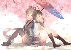 Rating: Safe Score: 42 Tags: jpeg_artifacts luo_tianyi seifuku thighhighs umbrella vocaloid weitu yuezheng_ling User: blooregardo