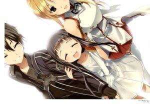 Rating: Safe Score: 26 Tags: armor asuna_(sword_art_online) dress endcard hima kirito sword_art_online thighhighs yui_(sword_art_online) User: drop