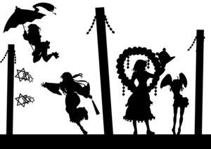 Rating: Safe Score: 7 Tags: kitazinger kochiya_sanae monochrome moriya_suwako silhouette tatara_kogasa touhou yasaka_kanako User: itsu-chan
