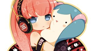 Rating: Safe Score: 28 Tags: hatsune_miku headphones megurine_luka neko_sakana vocaloid User: Lollipoppish