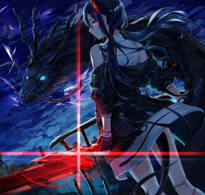 Rating: Safe Score: 26 Tags: arknights ch'en_(arknights) ei_(tndusdldu) horns monster skirt_lift sword tail User: Dreista