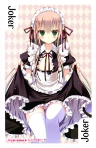 Rating: Questionable Score: 48 Tags: card cleavage maid no_bra open_shirt pantsu shimapan shirogane_hina skirt_lift thighhighs User: drop