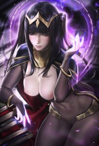 Rating: Questionable Score: 80 Tags: bodysuit breasts cameltoe fire_emblem fire_emblem_kakusei nipples no_bra open_shirt sakimichan tharja User: RiDexSS