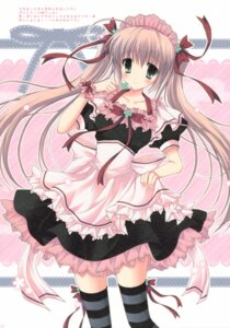 Rating: Safe Score: 41 Tags: cascade dress hasekura_chiaki maid paper_texture thighhighs User: syaoran-kun