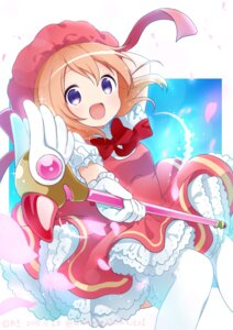 Rating: Safe Score: 27 Tags: card_captor_sakura cosplay dress gochuumon_wa_usagi_desu_ka? hoto_cocoa kinomoto_sakura thighhighs waki_(pixiv2609622) weapon User: Mr_GT