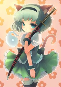 Rating: Safe Score: 23 Tags: animal_ears konpaku_youmu sanntouhei stockings sword tail thighhighs touhou User: Mr_GT