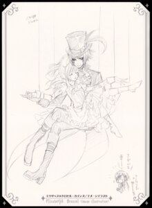 Rating: Safe Score: 7 Tags: character_design ciel_phantomhive drossel_keinz elizabeth_middleford kuroshitsuji monochrome sketch User: charunetra