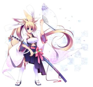 Rating: Safe Score: 18 Tags: animal_ears dragonmaterial garter kitsune sarashi sword tail thighhighs User: fireattack
