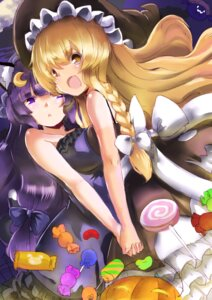 Rating: Safe Score: 27 Tags: animal_ears dress halloween kirisame_marisa patchouli_knowledge senbon_tsuki symmetrical_docking tail touhou witch User: Mr_GT