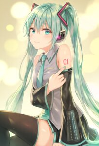 Rating: Safe Score: 38 Tags: hatsune_miku headphones tattoo thighhighs tokkyu vocaloid User: Mr_GT