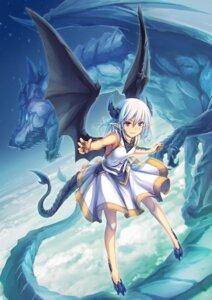 Rating: Safe Score: 10 Tags: horns monster pointy_ears skirt_lift tail tenmaso wings User: Mr_GT