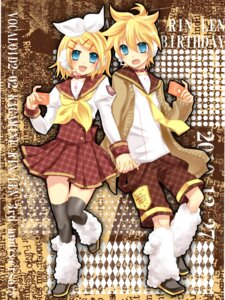 Rating: Safe Score: 8 Tags: kagamine_len kagamine_rin seifuku thighhighs vocaloid yayoi User: charunetra