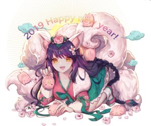 Rating: Safe Score: 17 Tags: ahri animal_ears cleavage hayanpool japanese_clothes league_of_legends tail User: BattlequeenYume