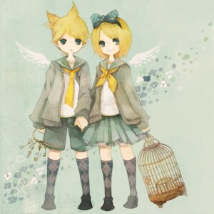 Rating: Safe Score: 9 Tags: kagamine_len kagamine_rin pechika vocaloid wings User: charunetra