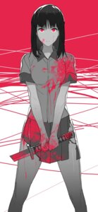 Rating: Questionable Score: 26 Tags: blood jandy seifuku sword torn_clothes User: saemonnokami