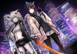 Rating: Safe Score: 11 Tags: animal_ears arknights cleavage lappland_(arknights) noan open_shirt pantyhose smoking sword texas_(arknights) User: Arsy