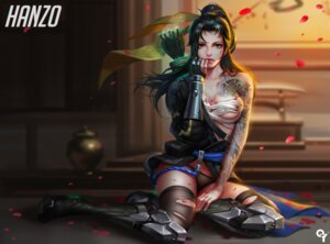 Rating: Questionable Score: 54 Tags: armor blood cleavage genderswap hanzo_(overwatch) liang_xing overwatch pantsu sarashi tattoo thighhighs torn_clothes weapon User: RyuZU