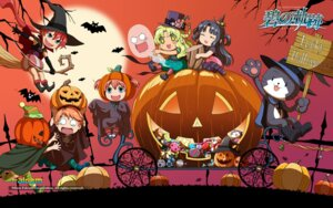 Rating: Safe Score: 9 Tags: chibi eiyuu_densetsu eiyuu_densetsu:_ao_no_kiseki falcom halloween kea shirley_orlando sizuku_maclaine wallpaper witch User: Driger