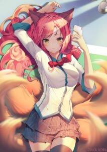 Rating: Safe Score: 62 Tags: ahri animal_ears kitsune league_of_legends lee_seok_ho seifuku signed tail thighhighs User: RyuZU