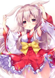 Rating: Questionable Score: 20 Tags: animal_ears bunny_ears miko odaefnyo skirt_lift thighhighs User: whitespace1