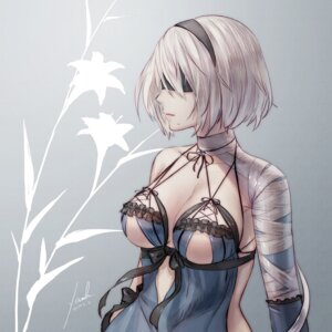 Rating: Questionable Score: 99 Tags: anbe_yoshirou bandages cleavage cosplay kaine_(nier) lingerie nier_automata nier_replicant no_bra yorha_no.2_type_b User: mash