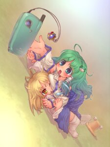 Rating: Safe Score: 2 Tags: kochiya_sanae moriya_suwako sankuma thighhighs touhou User: Mr_GT