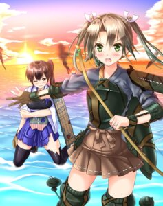Rating: Safe Score: 24 Tags: kaga_(kancolle) kantai_collection kyamu thighhighs torn_clothes weapon zuikaku_(kancolle) User: animeprincess