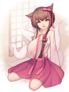 Rating: Safe Score: 32 Tags: ahri animal_ears asian_clothes breast_hold dk2 league_of_legends open_shirt tail User: charunetra