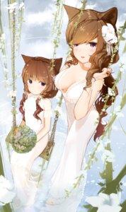 Rating: Questionable Score: 24 Tags: animal_ears dress futoshi_ame nekomimi no_bra see_through wedding_dress User: BattlequeenYume