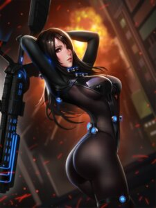 Rating: Safe Score: 121 Tags: ass bodysuit gantz garter liang_xing shimohira_reika weapon User: mash