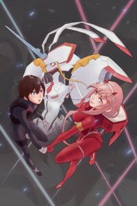 Rating: Safe Score: 9 Tags: bodysuit darling_in_the_franxx hiro_(darling_in_the_franxx) hkae horns mecha strelizia zero_two_(darling_in_the_franxx) User: 김도엽