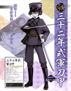 Rating: Safe Score: 11 Tags: sanjuuninen-shiki_guntoukou shimada_humikane sword tenka_hyakken uniform User: drop
