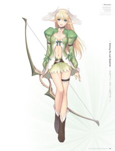 Rating: Questionable Score: 70 Tags: cleavage digital_version elf elwing garter no_bra pointy_ears shining_tears shining_wind shining_world tony_taka weapon User: Twinsenzw