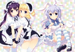 Rating: Questionable Score: 86 Tags: alice alice_in_wonderland animal_ears ass bunny_ears cosplay dress gochuumon_wa_usagi_desu_ka? kafuu_chino kirima_sharo maid pantsu santa_matsuri tedeza_rize thighhighs waitress User: Twinsenzw