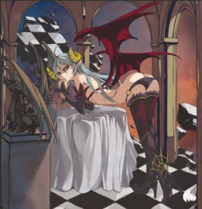 Rating: Questionable Score: 51 Tags: ass heels horns nyami panty_pull thighhighs wings User: blooregardo