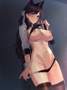 Rating: Questionable Score: 35 Tags: animal_ears atago_(azur_lane) azur_lane bikini breasts kentsutsue nipples panty_pull swimsuits thighhighs undressing User: BattlequeenYume